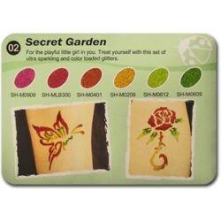 Art Glitter tartós csillámtetoválás szett - Secret Garden színkollekció (6 színes)